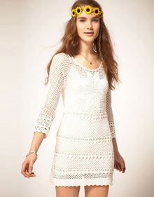 Pepe Jeans Pepe Jeans Crochet Dress with Long Sleeves - Lyst