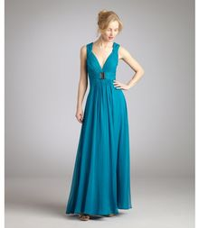 Hoaglund New York Blue Lagoon Belted Long Chiffon Gown - Lyst