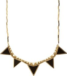 House Of Harlow House Of Harlow Gold and Black Zig Zag Triangle Armor Necklace - Lyst