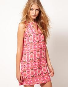 Mango Mango Floral Dress with Cut Out Detail - Lyst