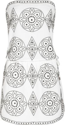 Melissa Odabash Miah Strapless Embellished Gauze Dress - Lyst