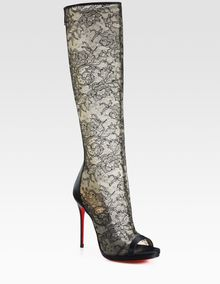 Christian Louboutin Alta Lace and Satin Knee High Boots - Lyst