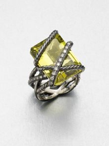 David Yurman Diamond Accented Lemon Citrine Ring - Lyst