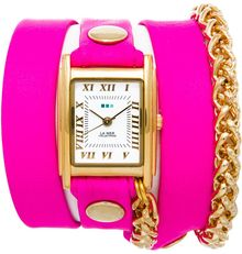La Mer Collections Neon Pink Gold Motor Chain Wrap - Lyst