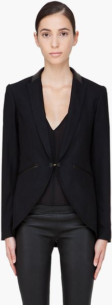 Rag & Bone Leather Trimmed Hubert Blazer - Lyst