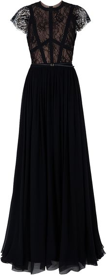Elie Saab Cap Sleeve Lace Body Gown - Lyst