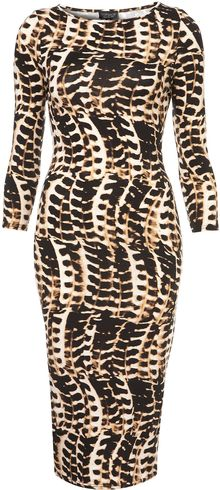 Topshop Tribal Animal Bodycon Midi Dress - Lyst