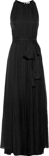 L'Agence Chevron Silk Jacquard Maxi Dress - Lyst