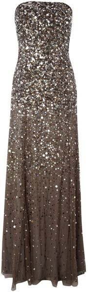 Adrianna Papell Strapless Beaded Long Dress - Lyst