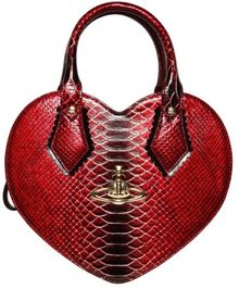 Vivienne Westwood Frilly Heart Faux Snakeskin Top Handle - Lyst