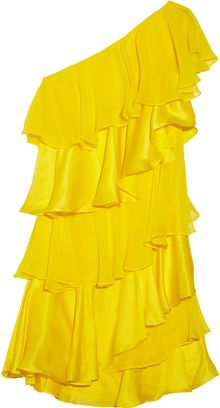 Halston Heritage Tiered Silk Chiffon And Satin Dress - Lyst