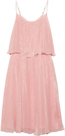 Halston Heritage Metallic Silk Chiffon Tiered Dress - Lyst