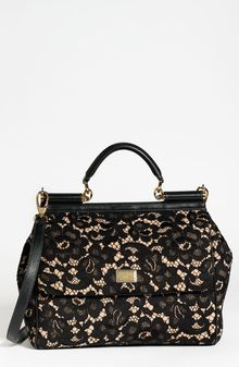 Dolce & Gabbana Miss Sicily Leather Lace Satchel - Lyst