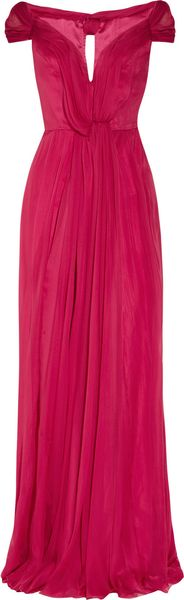 Alberta Ferretti Silk Chiffon Off The Shoulder Gown - Lyst