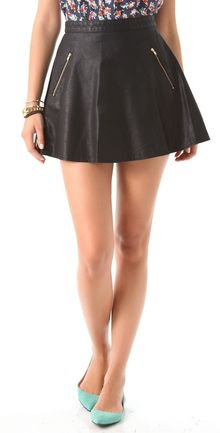 Free People Vegan Leather Circle Skirt - Lyst