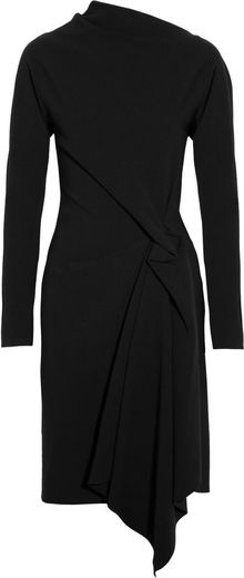 Lanvin Asymmetric Wool Blend Crepe Dress - Lyst