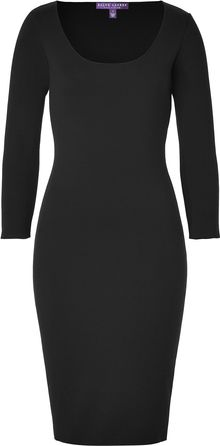 Ralph Lauren Collection Black Merino Lycra Scoop Neck Dress - Lyst
