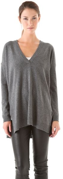 Vince V Neck Tunic Sweater - Lyst