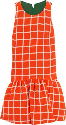 Kenzo Checked Silk Georgette Dress - Lyst