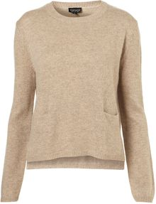 Topshop Knitted Crew Pocket Jumper - Lyst