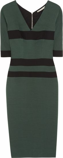 Victoria Beckham Striped Silkblend Stretchcrepe Dress - Lyst