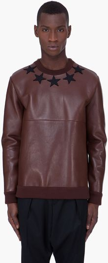 Givenchy  Leather Crewneck Sweater - Lyst
