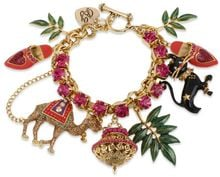 Betsey Johnson Gold Tone Camel and Cat Multicharm Toggle Bracelet - Lyst