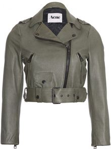 Acne Mape Lizard Embossed Cropped Leather Jacket - Lyst