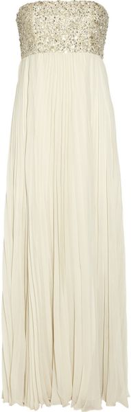 Alice + Olivia Embellished Pleated Silk chiffon Gown - Lyst