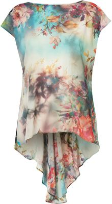 Topshop Floral Print Fishtail Top - Lyst