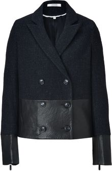 J Brand Black Leather wool Alberta Pea Coat - Lyst