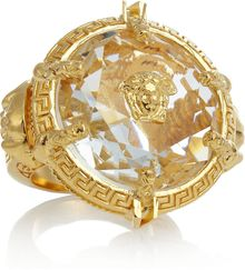 Versace Oversized Gold-Plated Crystal Ring - Lyst