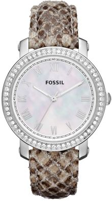Fossil Womens Emma Snake Print Leather Strap 38mm - Lyst