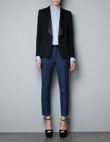 Zara Jogging Blazer with Silk Satin Tuxedo Collar - Lyst