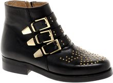 Asos Asos Amazon Leather Studded Biker Boots - Lyst