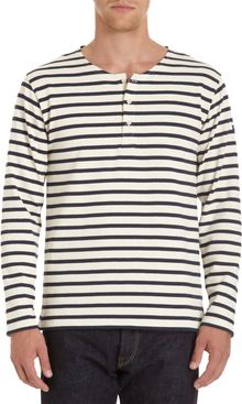 Saint James Striped Long Sleeve Henley - Lyst