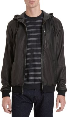 Barneys New York Co-op Hooded Bomber - Lyst
