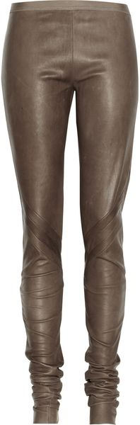 Rick Owens Paneled Leather Leggings - Lyst