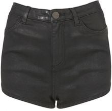 Moto Moto Black Coated Denim Shorts - Lyst
