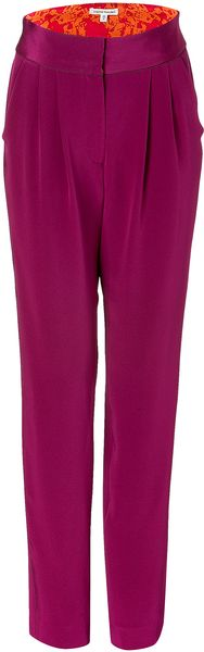 Sophie Theallet Dazzling Purple Piped Pleated Silk Pants - Lyst