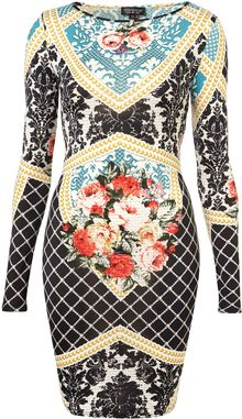 Topshop Baroque Print Bodycon Dress - Lyst