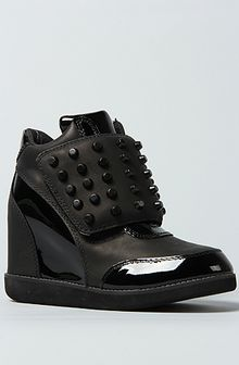 Jeffrey Campbell The Studded Teramo Sneaker in Black with Black Patent - Lyst
