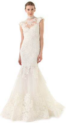 Marchesa Lace Gown with Illusion Neckline - Lyst