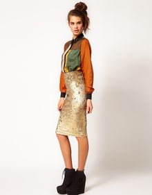 River Island Tula Baroque Velvet Pencil Skirt - Lyst
