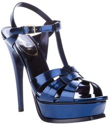 Saint Laurent Metallic Sling Back Sandal - Lyst