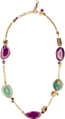 Saint Laurent Chyc Goldplated Agate Necklace - Lyst