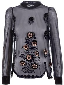 RED Valentino Embellished Sheer Blouse - Lyst