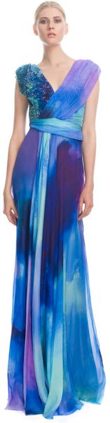 Matthew Williamson Powder Print Chiffon Embroidered Sari Drape Gown - Lyst