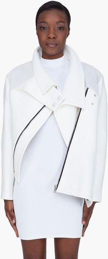 Proenza Schouler White Leather Trim Asymmetric Jacket - Lyst