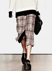 J.W. Anderson Light Red Plaid Felt Wrap Midi Skirt By Jwanderson - Lyst